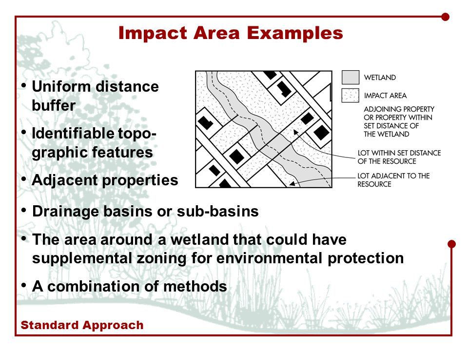 Impact Area Examples Uniform distance buffer Identifiable topo- graphic features Adjacent properties Drainage basins or sub-basins The area around a wetland that could have supplemental zoning for environmental protection A combination of methods Standard Approach