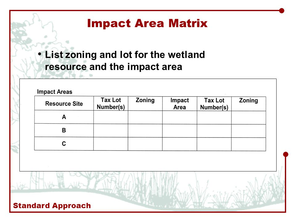 Impact Area Matrix List zoning and lot for the wetland resource and the impact area Standard Approach