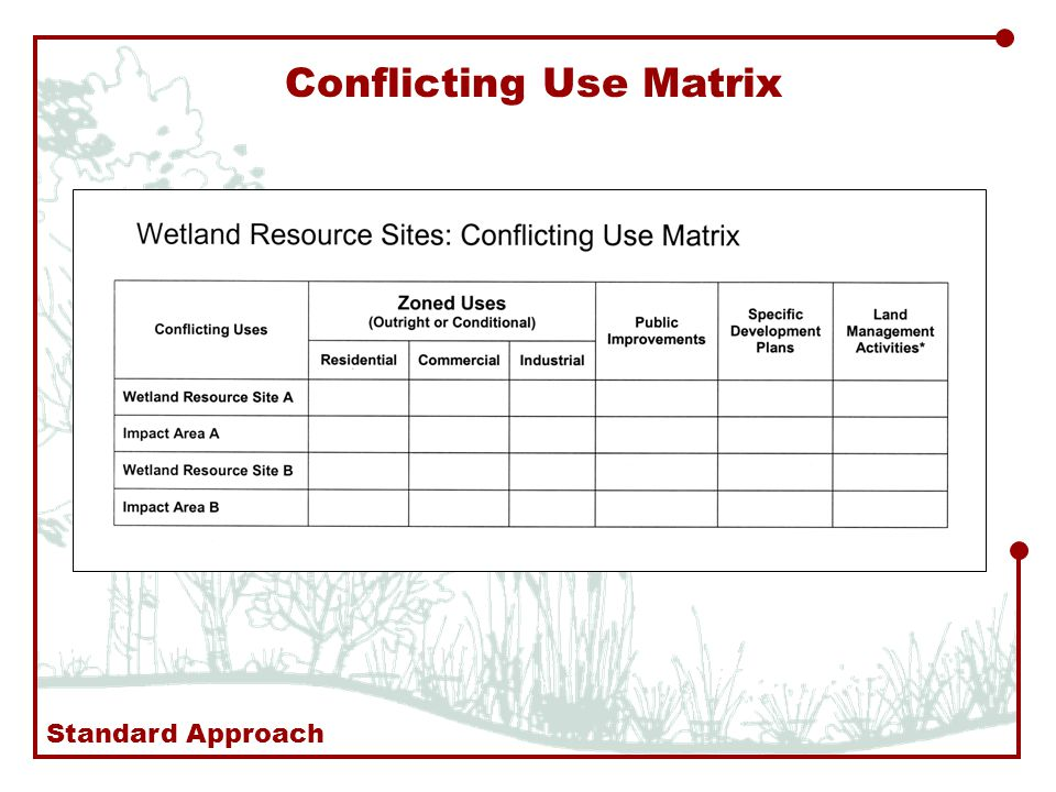 Conflicting Use Matrix Standard Approach