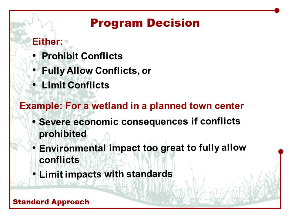 Program Decision Either: Prohibit Conflicts Fully Allow Conflicts, or Limit Conflicts Example: For a wetland in a planned town center Severe economic consequences if conflicts prohibited Environmental impact too great to fully allow conflicts Limit impacts with standards Standard Approach