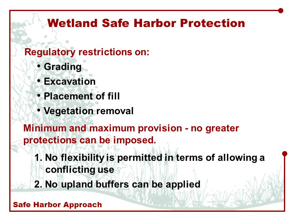 Wetland Safe Harbor Protection Grading Excavation Placement of fill Vegetation removal Minimum and maximum provision - no greater protections can be imposed.