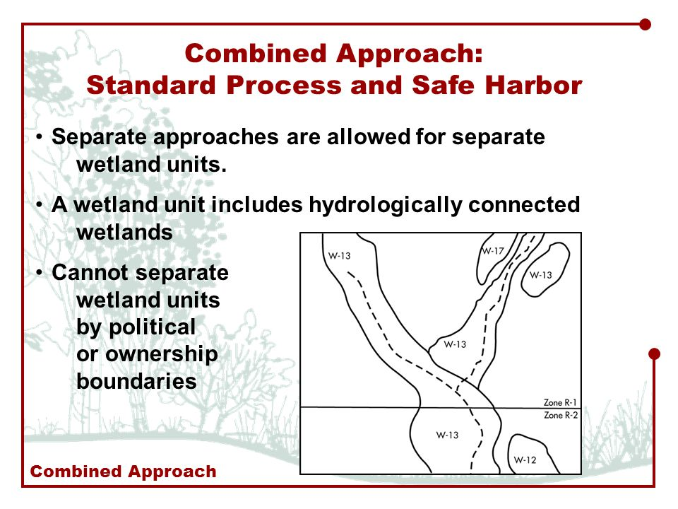 Combined Approach: Standard Process and Safe Harbor Separate approaches are allowed for separate wetland units.