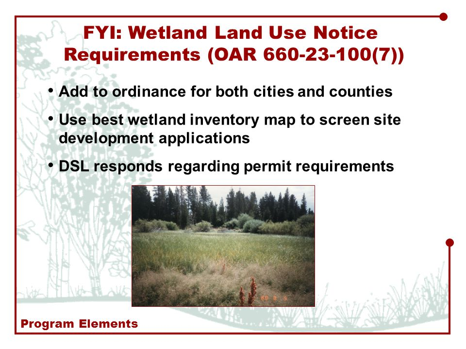 FYI: Wetland Land Use Notice Requirements (OAR (7)) Add to ordinance for both cities and counties Use best wetland inventory map to screen site development applications DSL responds regarding permit requirements Program Elements