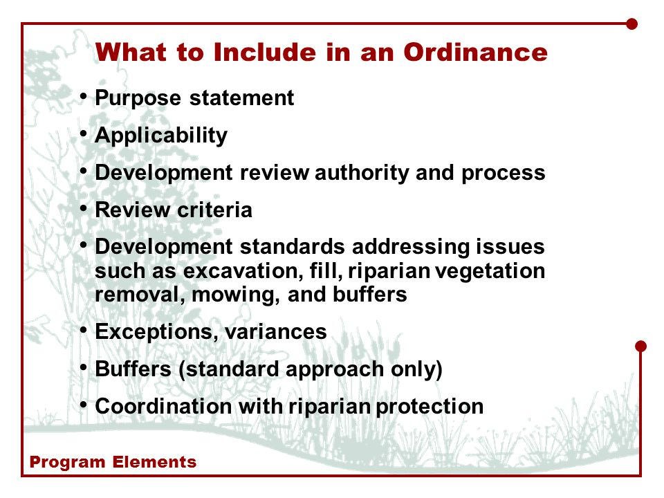 Purpose statement Applicability Development review authority and process Review criteria Development standards addressing issues such as excavation, fill, riparian vegetation removal, mowing, and buffers Exceptions, variances Buffers (standard approach only) Coordination with riparian protection What to Include in an Ordinance Program Elements