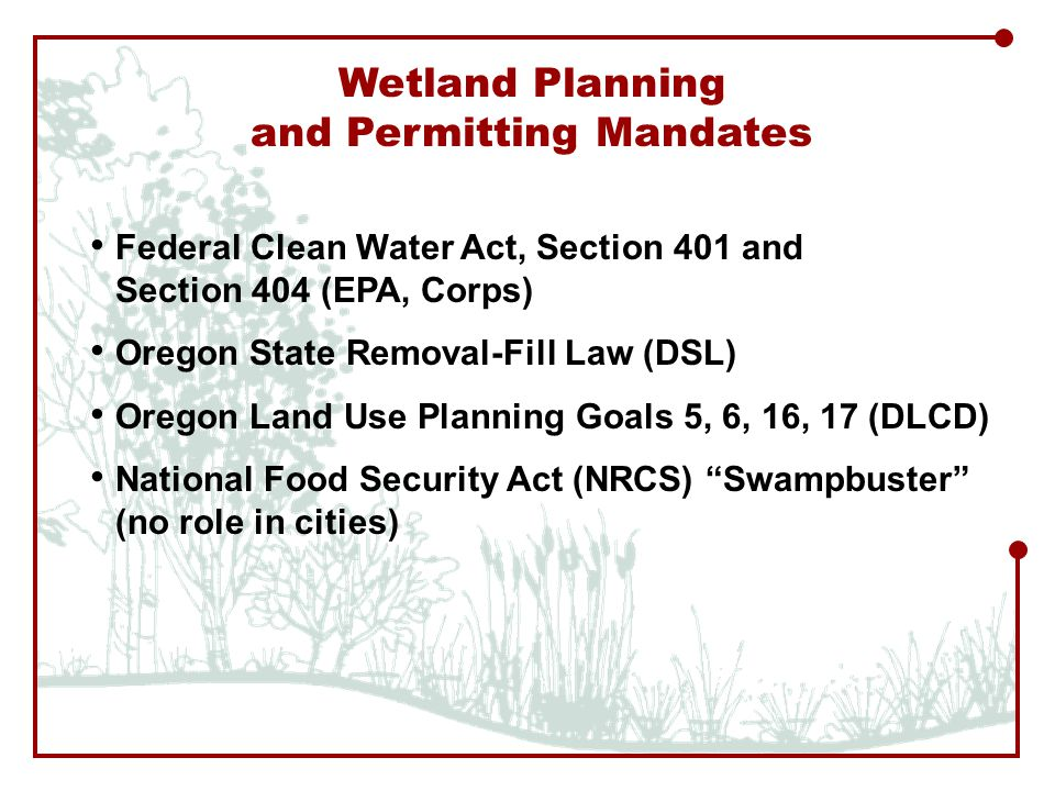 Wetland Planning and Permitting Mandates Federal Clean Water Act, Section 401 and Section 404 (EPA, Corps) Oregon State Removal-Fill Law (DSL) Oregon Land Use Planning Goals 5, 6, 16, 17 (DLCD) National Food Security Act (NRCS) Swampbuster (no role in cities)