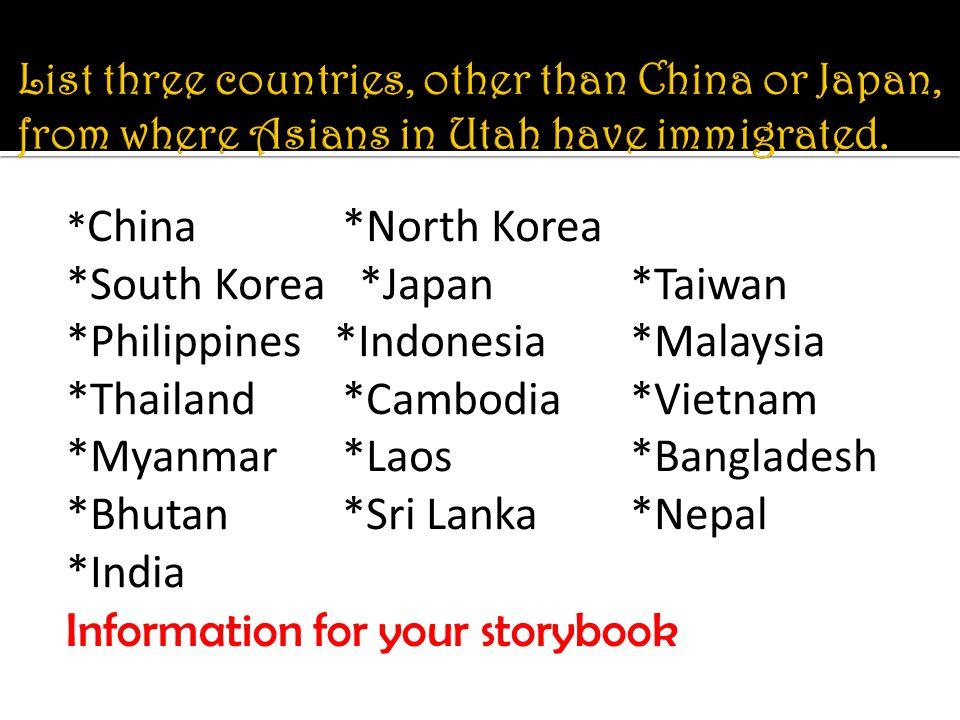 * China *North Korea *South Korea *Japan *Taiwan *Philippines *Indonesia *Malaysia *Thailand *Cambodia *Vietnam *Myanmar *Laos *Bangladesh *Bhutan *Sri Lanka *Nepal *India Information for your storybook