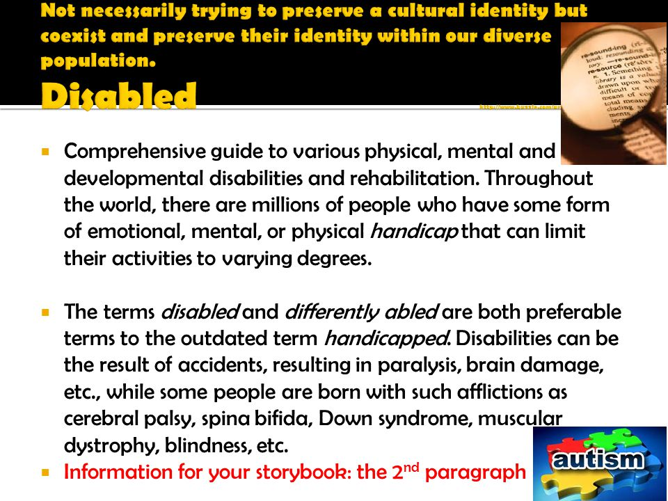  Comprehensive guide to various physical, mental and developmental disabilities and rehabilitation.