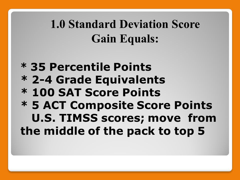 * 35 Percentile Points * 2-4 Grade Equivalents * 100 SAT Score Points * 5 ACT Composite Score Points U.S.
