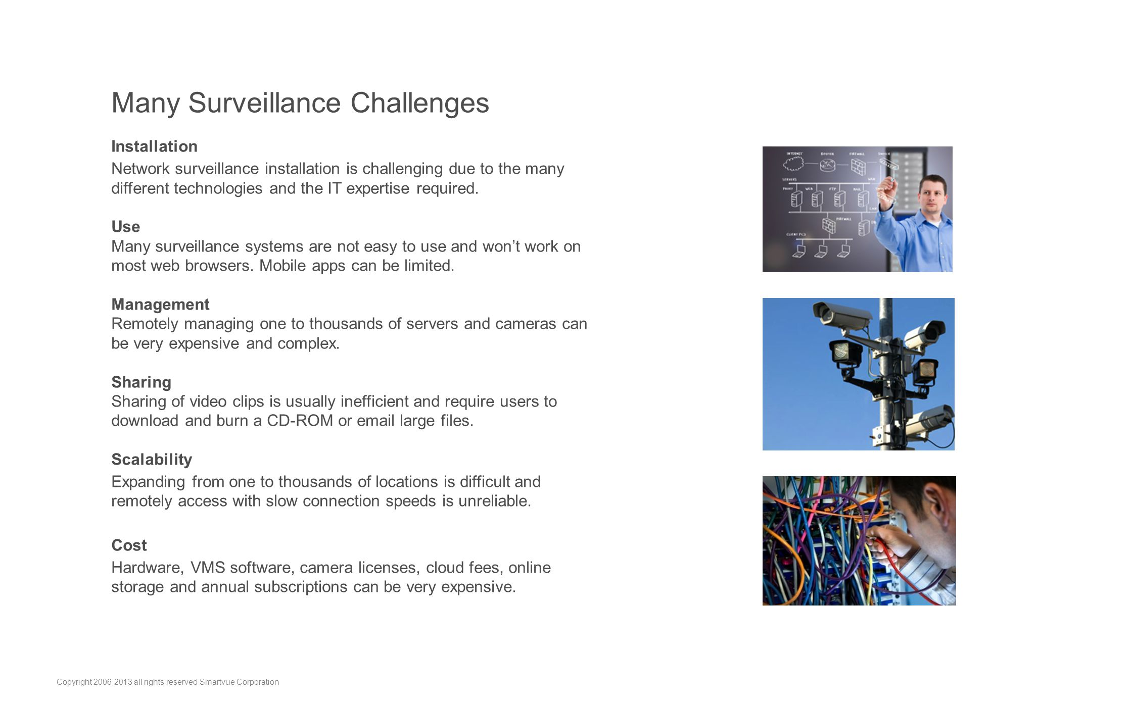 Many Surveillance Challenges Installation Network surveillance installation is challenging due to the many different technologies and the IT expertise required.