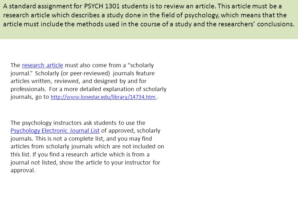Critical review of a psychological journal article?