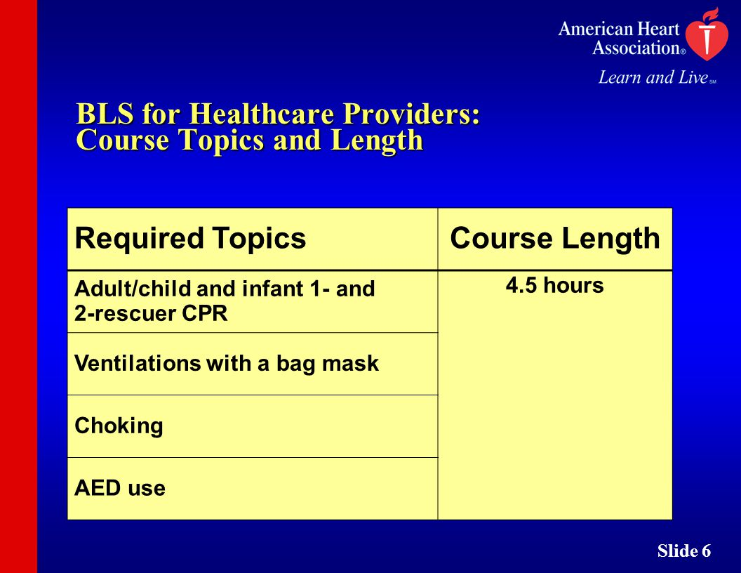 Slide 1 bls courses slide 2 bls instructors can teach bls for 6 slide 6 bls for healthcare providers course topics and length required topicscourse length adultchild and infant 1 and 2 rescuer cpr 45 hours 1betcityfo Gallery