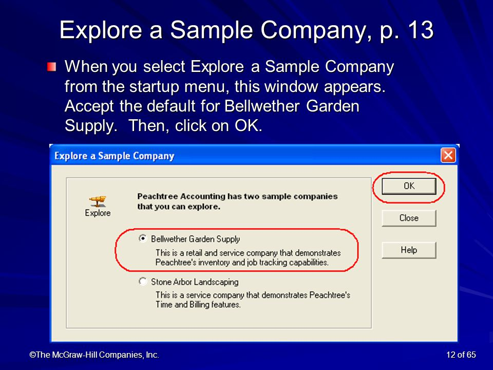 ©The McGraw Hill Companies, Inc.12 Of 65 Explore A Sample Company
