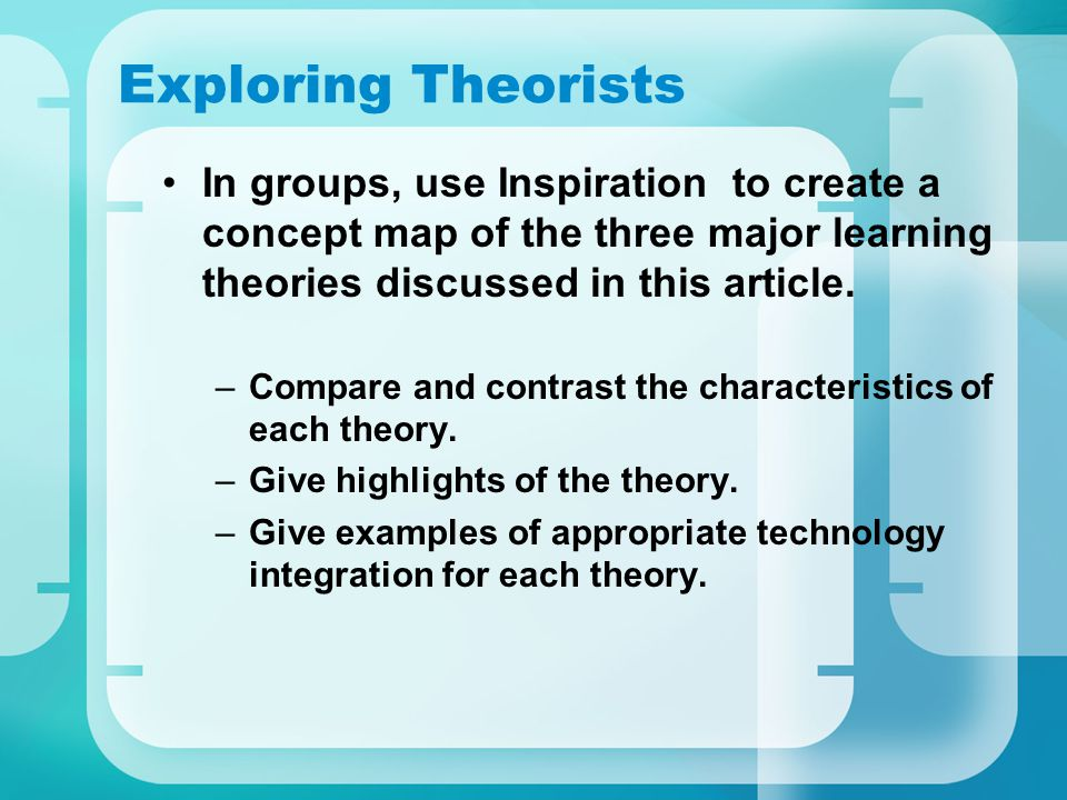 Exploring Theorists In groups, use Inspiration to create a concept map of the three major learning theories discussed in this article.