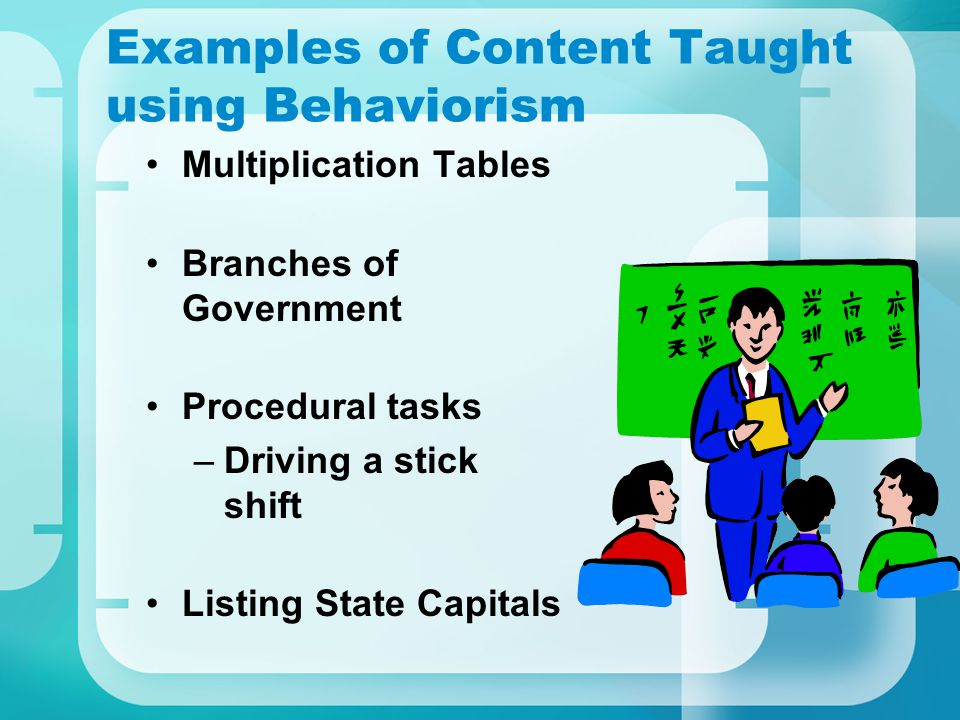Examples of Content Taught using Behaviorism Multiplication Tables Branches of Government Procedural tasks –Driving a stick shift Listing State Capitals