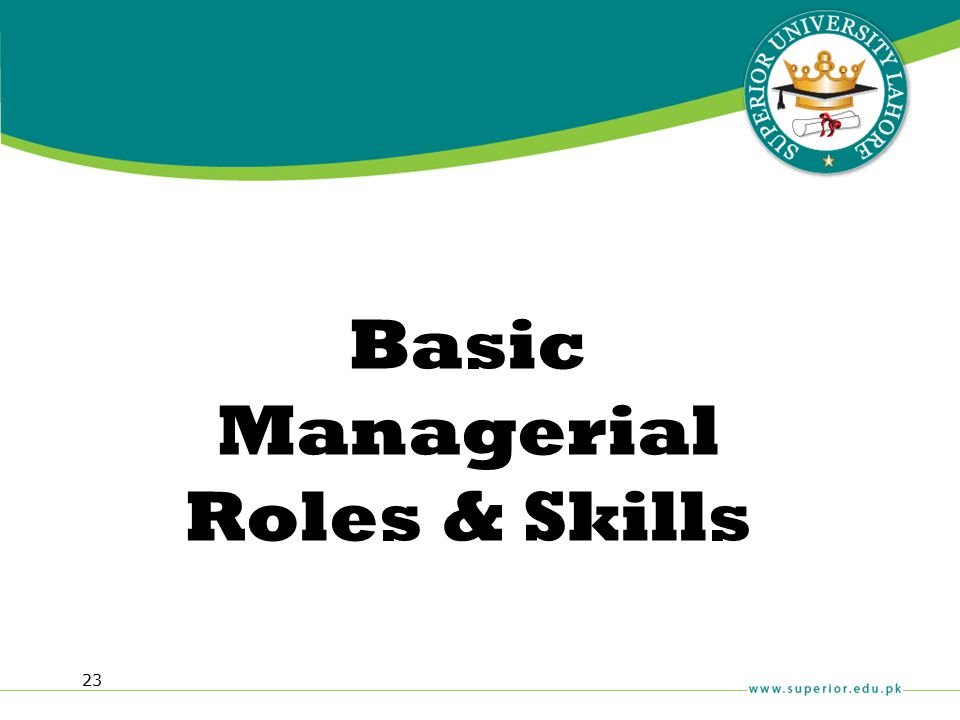 23 Basic Managerial Roles & Skills