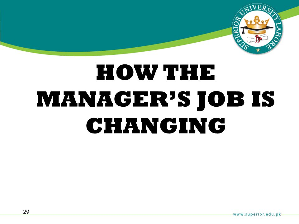 29 HOW THE MANAGER'S JOB IS CHANGING