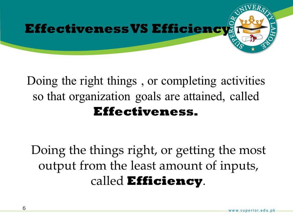 6 Effectiveness VS Efficiency Doing the right things, or completing activities so that organization goals are attained, called Effectiveness. Doing th