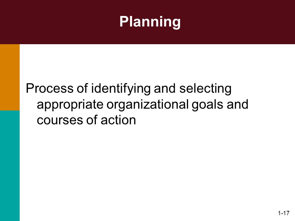 1-17 Planning Process of identifying and selecting appropriate organizational goals and courses of action