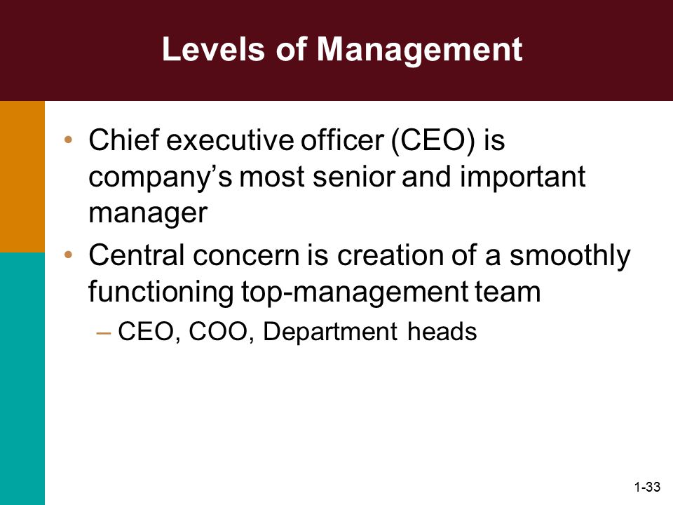 1-33 Levels of Management Chief executive officer (CEO) is company's most senior and important manager Central concern is creation of a smoothly funct