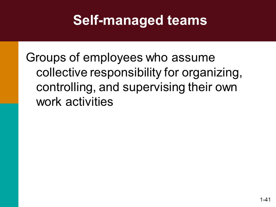 1-41 Self-managed teams Groups of employees who assume collective responsibility for organizing, controlling, and supervising their own work activitie