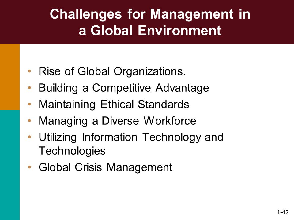 1-42 Challenges for Management in a Global Environment Rise of Global Organizations. Building a Competitive Advantage Maintaining Ethical Standards Ma