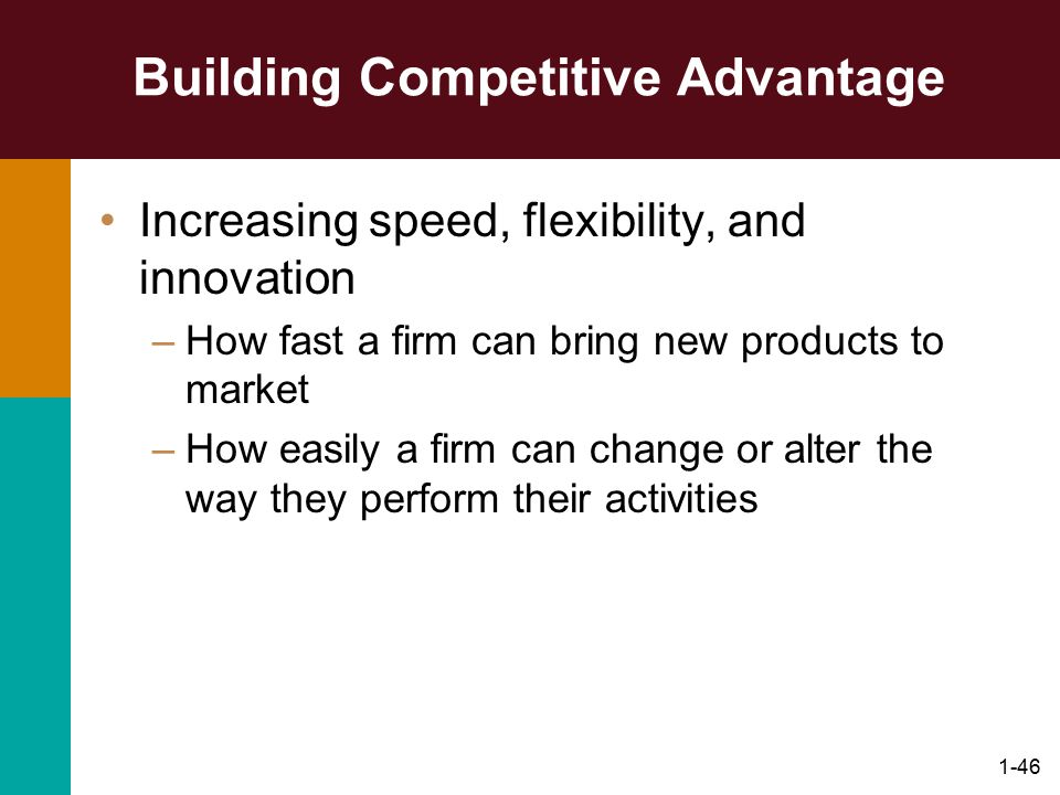 1-46 Building Competitive Advantage Increasing speed, flexibility, and innovation –How fast a firm can bring new products to market –How easily a firm