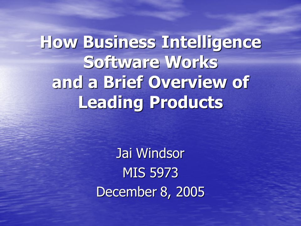 How Business Intelligence Software Works and a Brief Overview of Leading Products Jai Windsor MIS 5973 December 8, 2005
