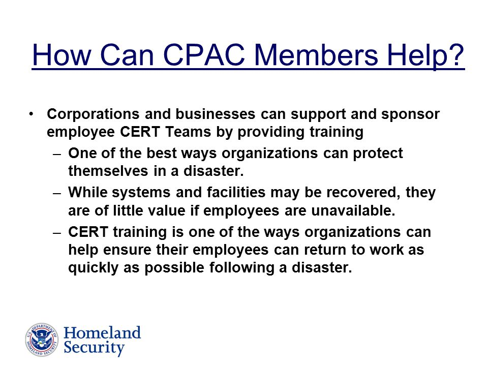 How Can CPAC Members Help.