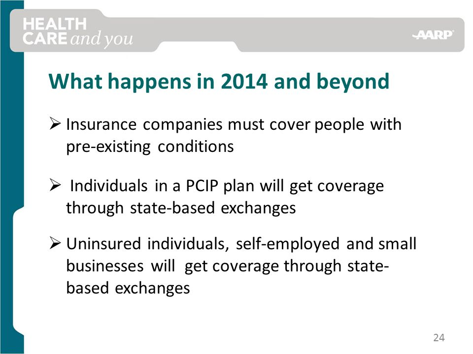 What happens in 2014 and beyond  Insurance companies must cover people with pre-existing conditions  Individuals in a PCIP plan will get coverage through state-based exchanges  Uninsured individuals, self-employed and small businesses will get coverage through state- based exchanges 24
