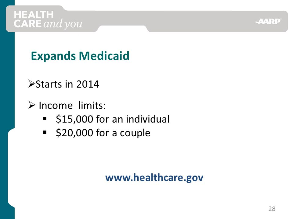 Expands Medicaid  Starts in 2014  Income limits:  $15,000 for an individual  $20,000 for a couple   28