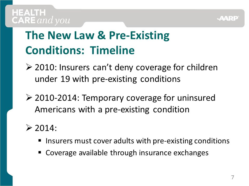 The New Law & Pre-Existing Conditions: Timeline  2010: Insurers can't deny coverage for children under 19 with pre-existing conditions  : Temporary coverage for uninsured Americans with a pre-existing condition  2014:  Insurers must cover adults with pre-existing conditions  Coverage available through insurance exchanges 7