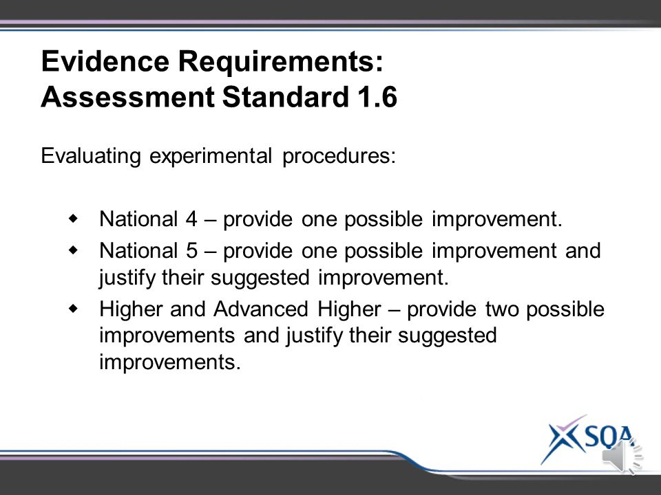 Evidence Requirements: Assessment Standard 1.5 Drawing valid conclusions:  at Advanced Higher these must be supported by evidence.