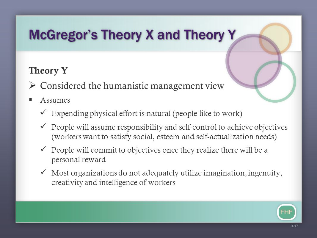 FHF McGregor's Theory X and Theory Y Theory Y  Considered the humanistic management view  Assumes Expending physical effort is natural (people like