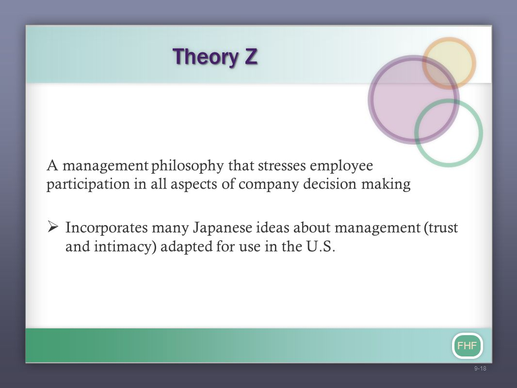 FHF Theory Z A management philosophy that stresses employee participation in all aspects of company decision making  Incorporates many Japanese ideas