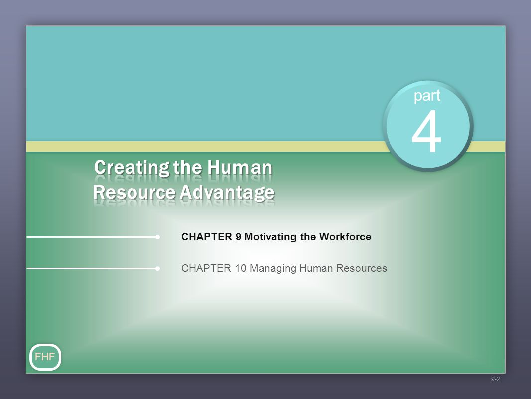 part CHAPTER 10 Managing Human Resources 4 FHF 9-2 CHAPTER 9 Motivating the Workforce
