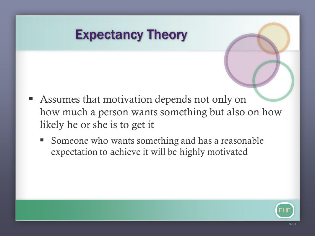 FHF Expectancy Theory  Assumes that motivation depends not only on how much a person wants something but also on how likely he or she is to get it 