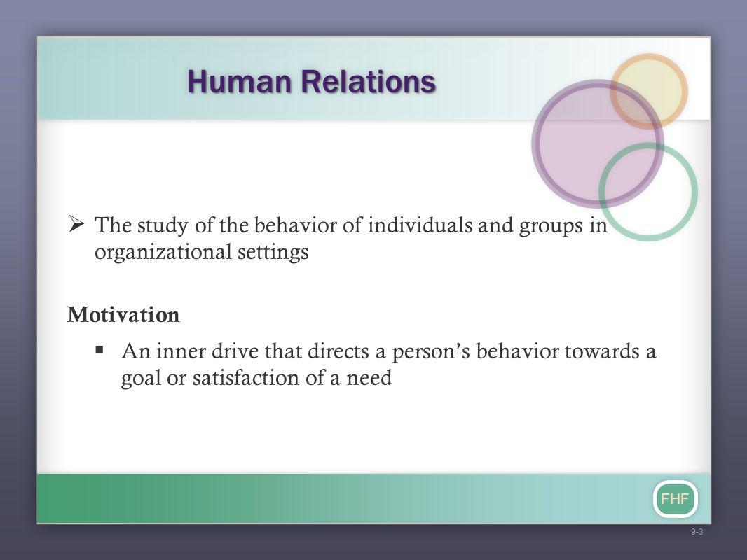 FHF Human Relations  The study of the behavior of individuals and groups in organizational settings Motivation  An inner drive that directs a person
