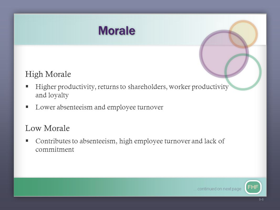 FHF MoraleMorale High Morale  Higher productivity, returns to shareholders, worker productivity and loyalty  Lower absenteeism and employee turnover