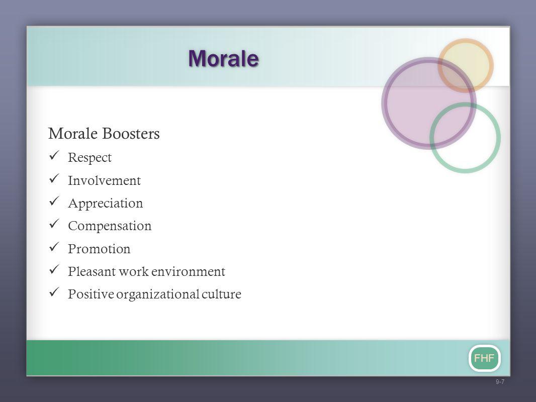 FHF MoraleMorale Morale Boosters Respect Involvement Appreciation Compensation Promotion Pleasant work environment Positive organizational culture 9-7