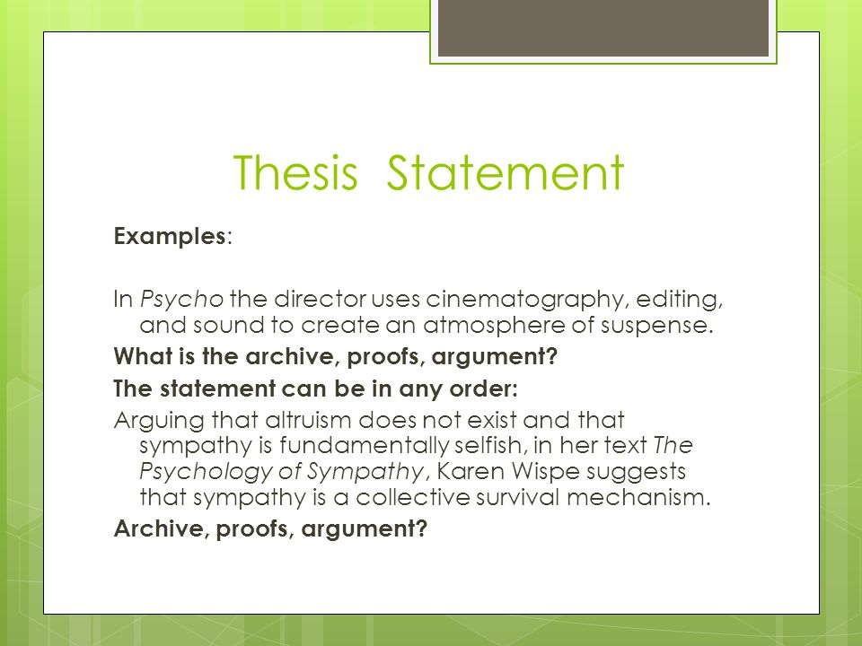 Psychology Thesis Statement