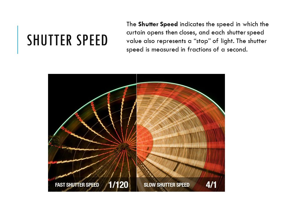 SHUTTER SPEED The Shutter Speed indicates the speed in which the curtain opens then closes, and each shutter speed value also represents a stop of light.
