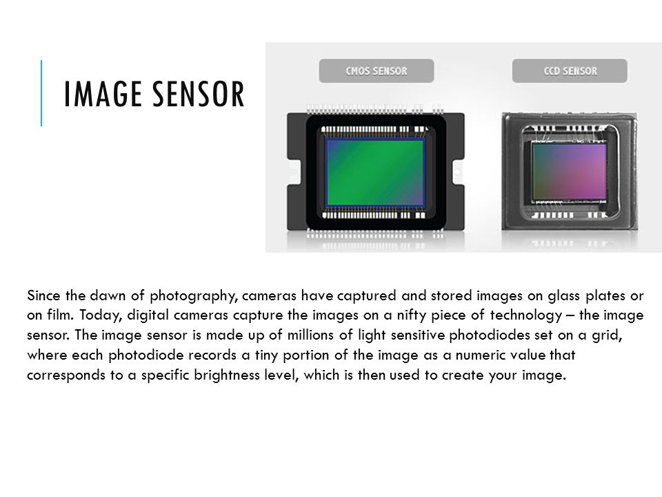 IMAGE SENSOR Since the dawn of photography, cameras have captured and stored images on glass plates or on film.