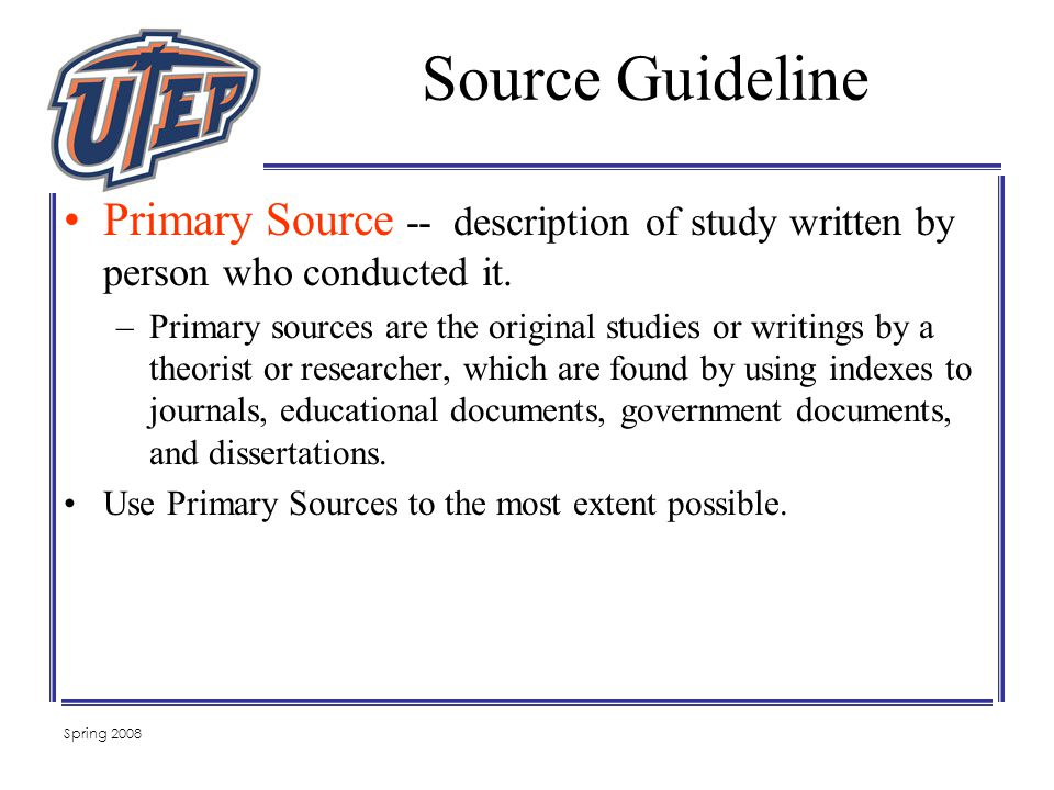 Spring 2008 Primary Source -- description of study written by person who conducted it.