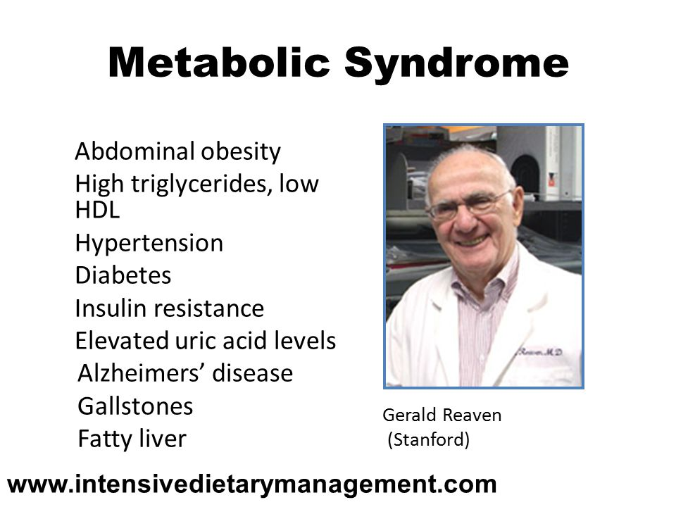 Metabolic Syndrome Abdominal obesity High triglycerides, low HDL Hypertension Diabetes Insulin resistance Elevated uric acid levels Alzheimers' disease Gallstones Fatty liver Gerald Reaven (Stanford)