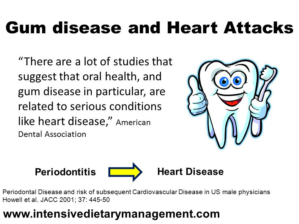 Gum disease and Heart Attacks There are a lot of studies that suggest that oral health, and gum disease in particular, are related to serious conditions like heart disease, American Dental Association Periodontal Disease and risk of subsequent Cardiovascular Disease in US male physicians Howell et al.