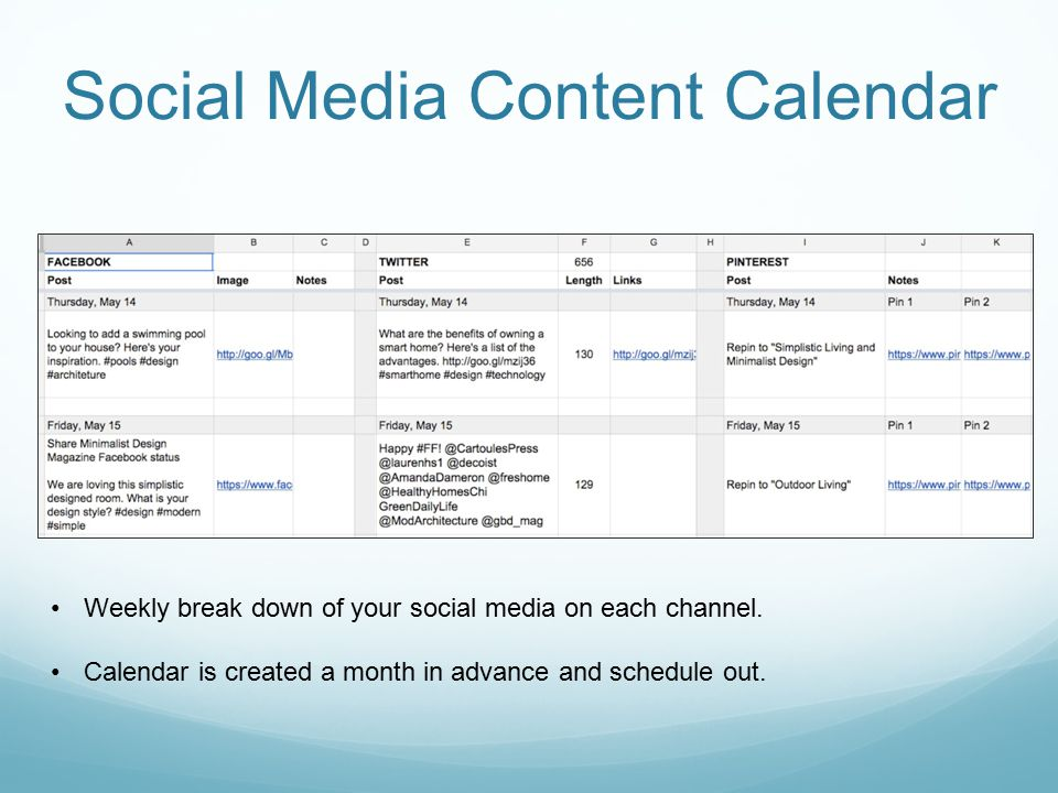 Social Media Content Calendar Weekly break down of your social media on each channel.