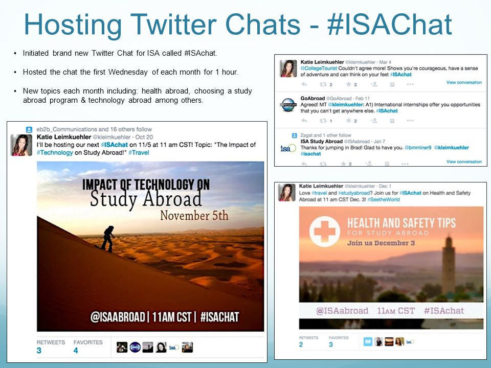 Hosting Twitter Chats - #ISAChat Initiated brand new Twitter Chat for ISA called #ISAchat.