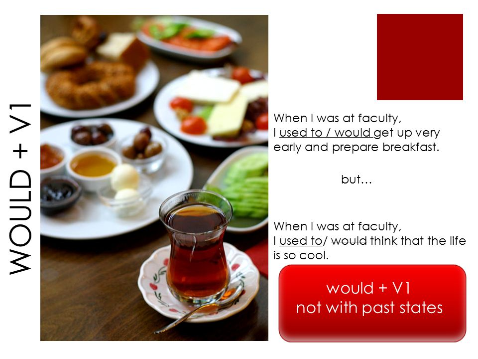 WOULD + V1 When I was at faculty, I used to / would get up very early and prepare breakfast.