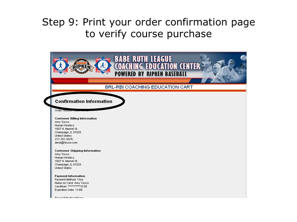 Step 9: Print your order confirmation page to verify course purchase