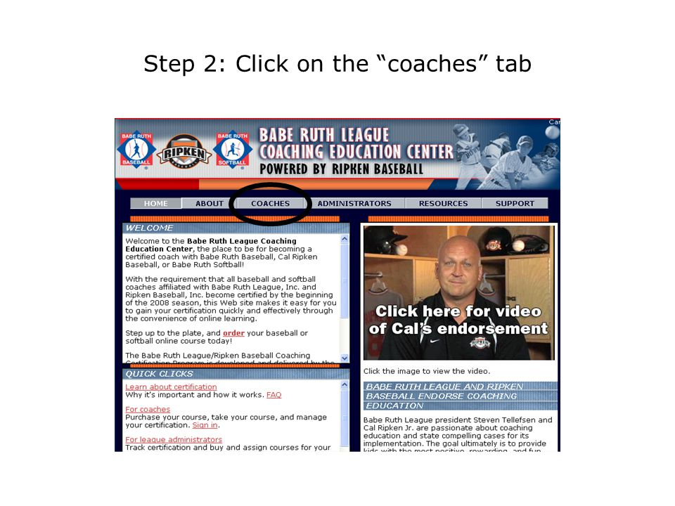 Step 2: Click on the coaches tab